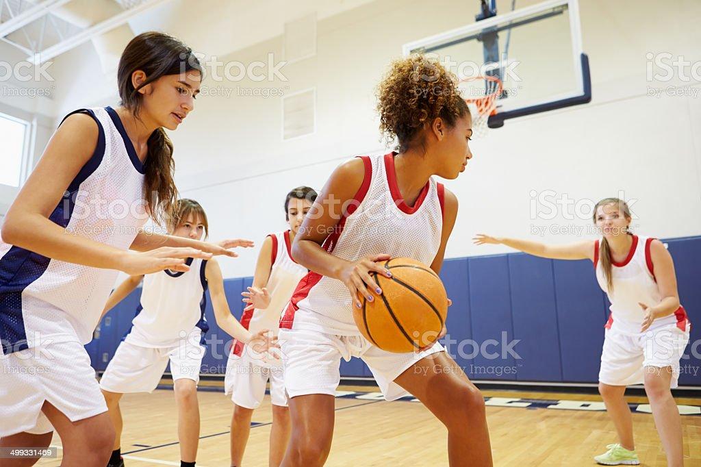 Female High School Basketball Team Playing Game In Gymnasium