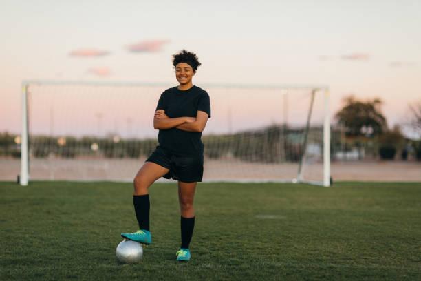 Female High School Soccer Player stock photo