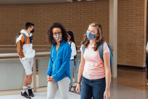 Female High School Students at School during COVID-19