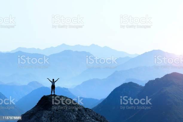 Photo of Female Hiker Celebrating Success
