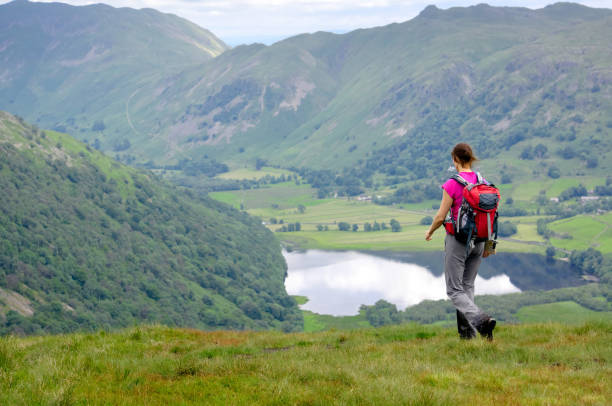 a female hiker out walking - cumbria stock photos and pictures