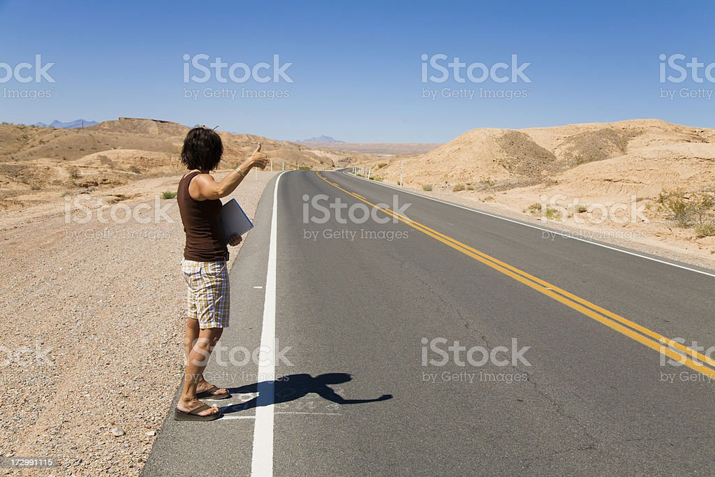 Female Hitch Hiker royalty-free stock photo