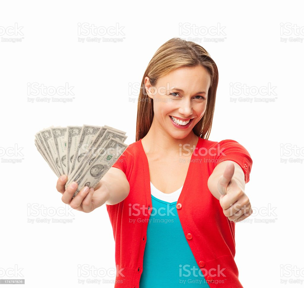 Female Holding Currency and Giving Thumbs Up royalty-free stock photo