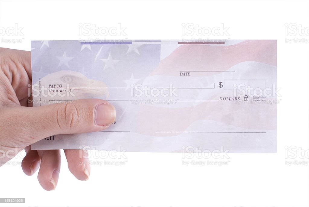 female holding empty check stock photo
