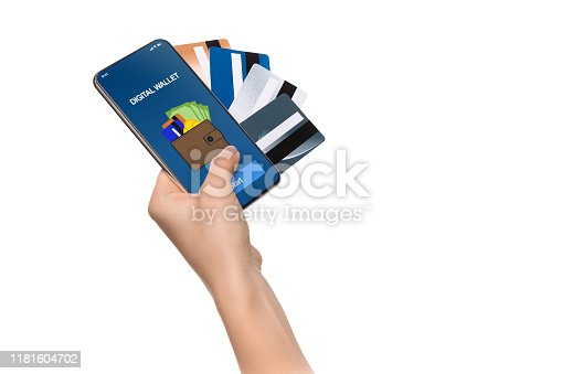 Mobile banking. Opened digital wallet app on smartphone and bunch of cards in female hand, isolated on white background