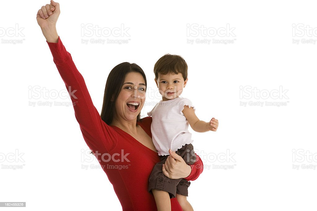 Female holding toddler gesturing fist in the air royalty-free stock photo