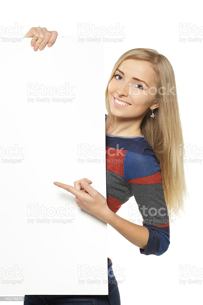Female holding whiteboard royalty-free stock photo