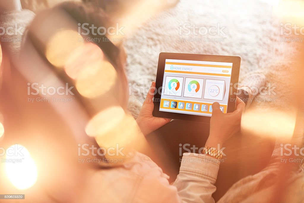 Female home owner checking energy consumption stock photo