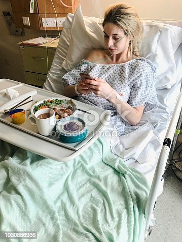 istock Female Hospital Patient In Hospital Bed 1030886936