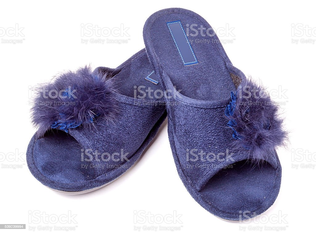 female house slippers with fur on white background royalty-free stock photo