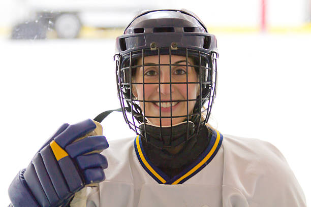 Female ice hockey player before a game stock photo