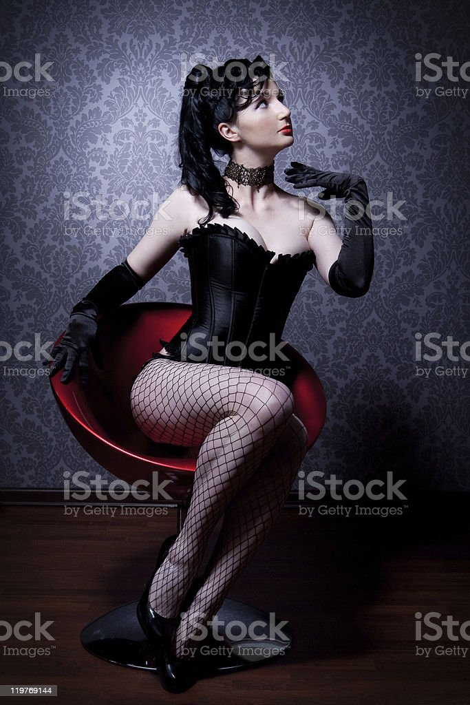 female in a corset stock photo