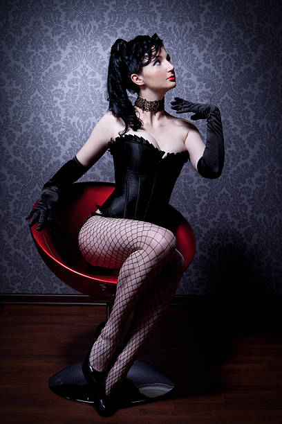 female in a corset - burlesque stock photos and pictures