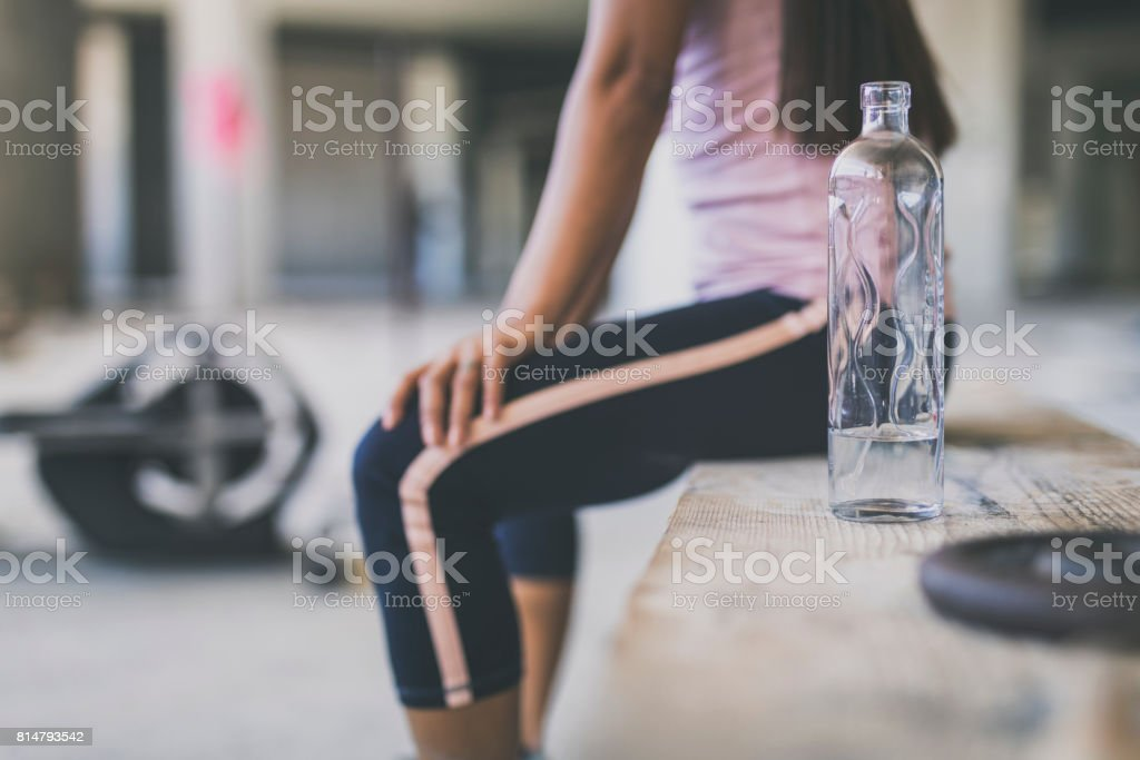 Female in an urban gym stock photo