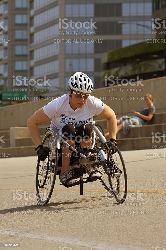 Female In Racing Wheelchair Works Out Along Chicago's Lakeshore stock photo