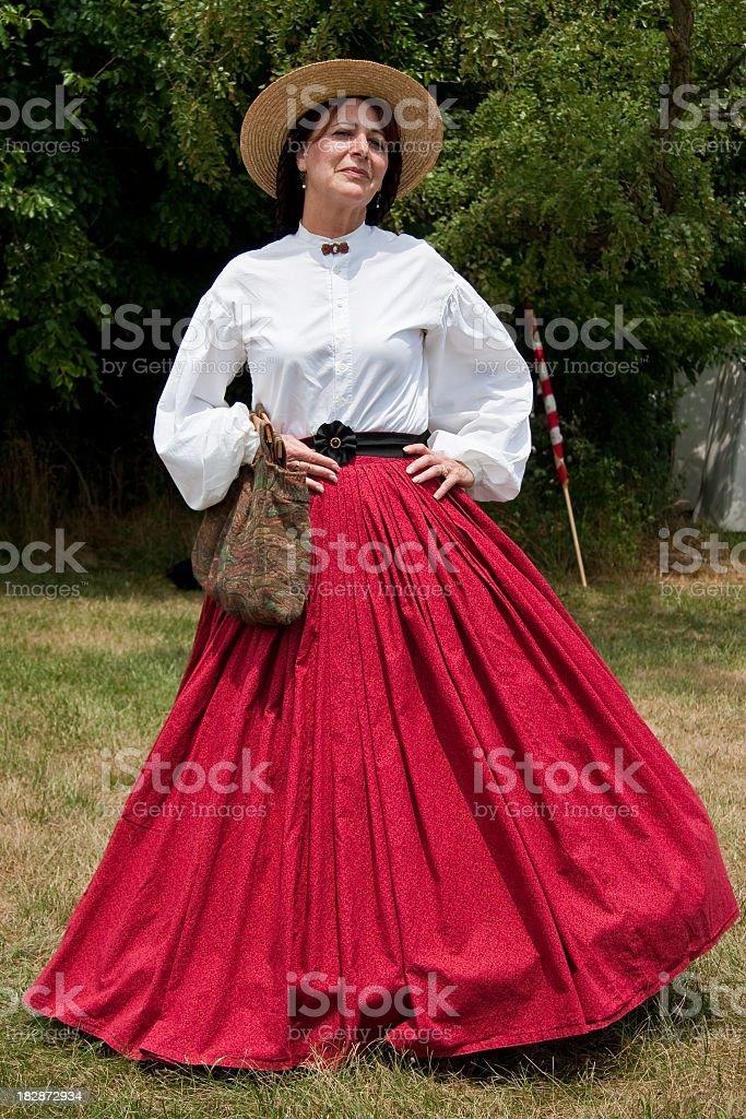 Female In Red Dress -- American Civil War Reenactor royalty-free stock photo
