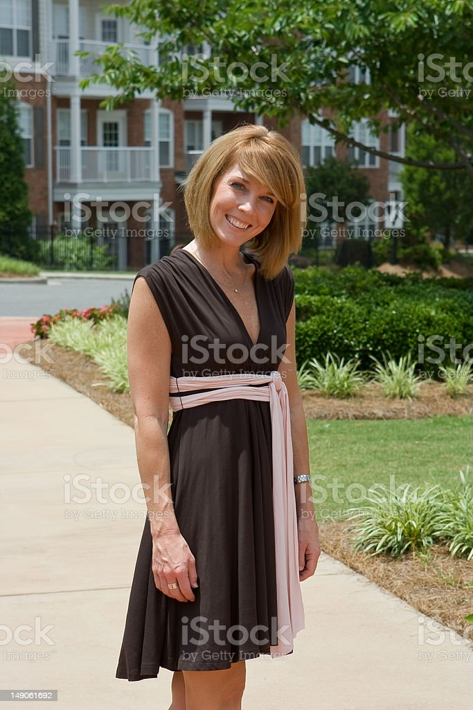 female in the park stock photo
