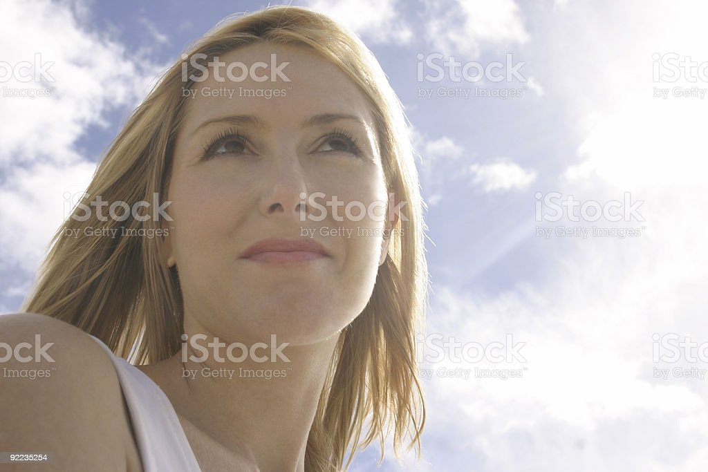 Female in the sunlight stock photo