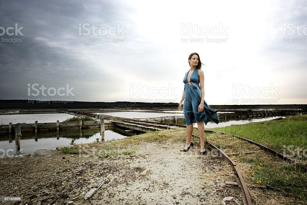 female in the wind royalty-free stock photo