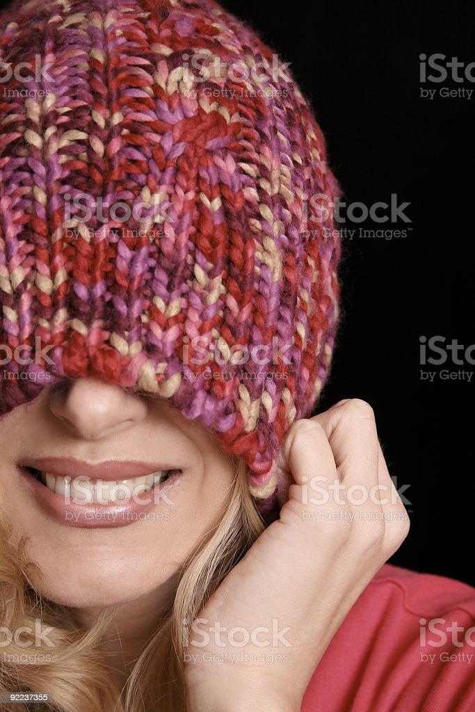 Female in winter beanie stock photo