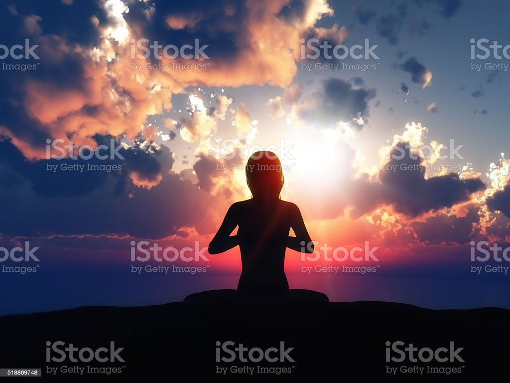 3D female in yoga pose against a sunset sky stock photo