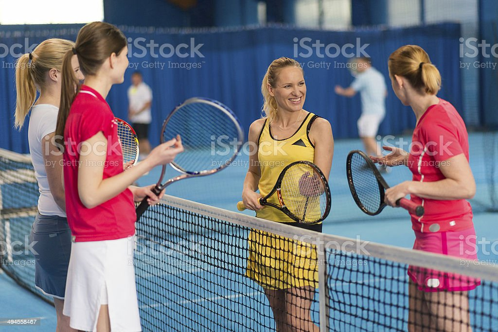 Female Indoor Tennis Players stock photo