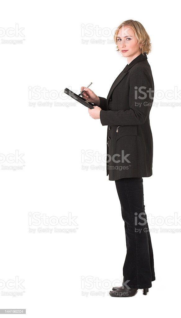 Female inspector writing royalty-free stock photo