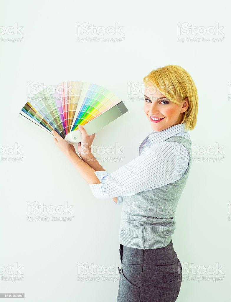 Female interior designer witch color swatch royalty-free stock photo