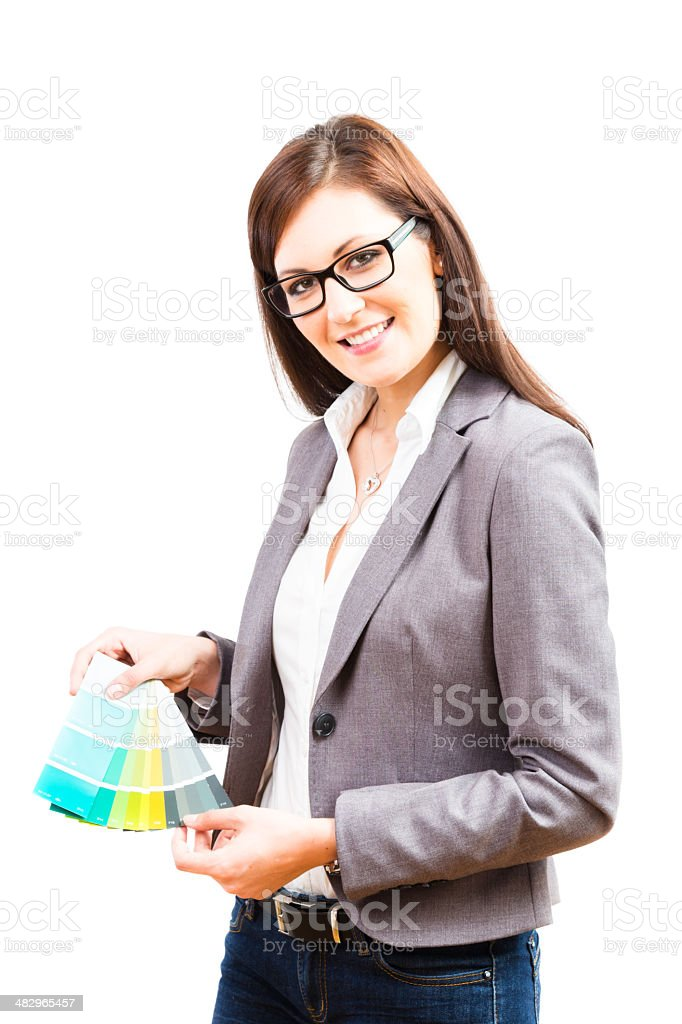 female interior designer with color swatches royalty-free stock photo