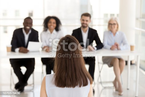 istock Female job candidate make good first impression on HR managers 1070375436