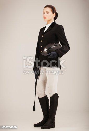 young beautiful jockey woman.