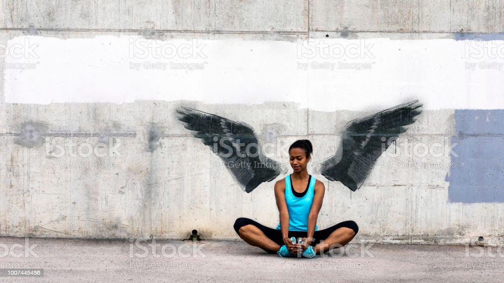 Female jogger stock photo