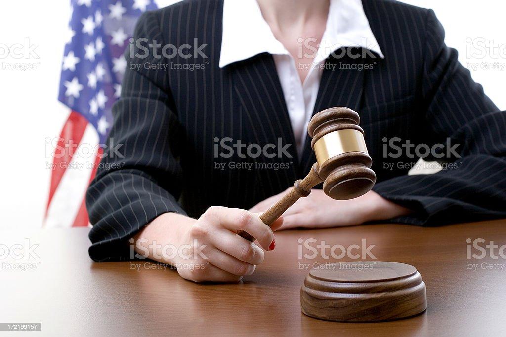 Female judge Female judge with US flag on the background Activity Stock Photo