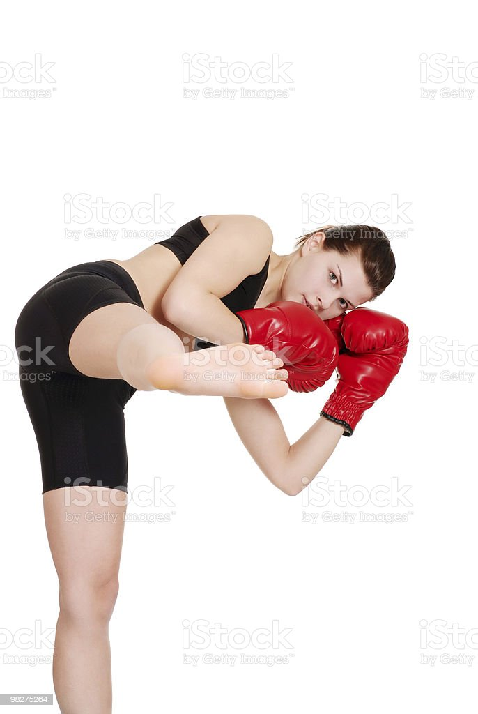 female kick boxer royalty-free stock photo