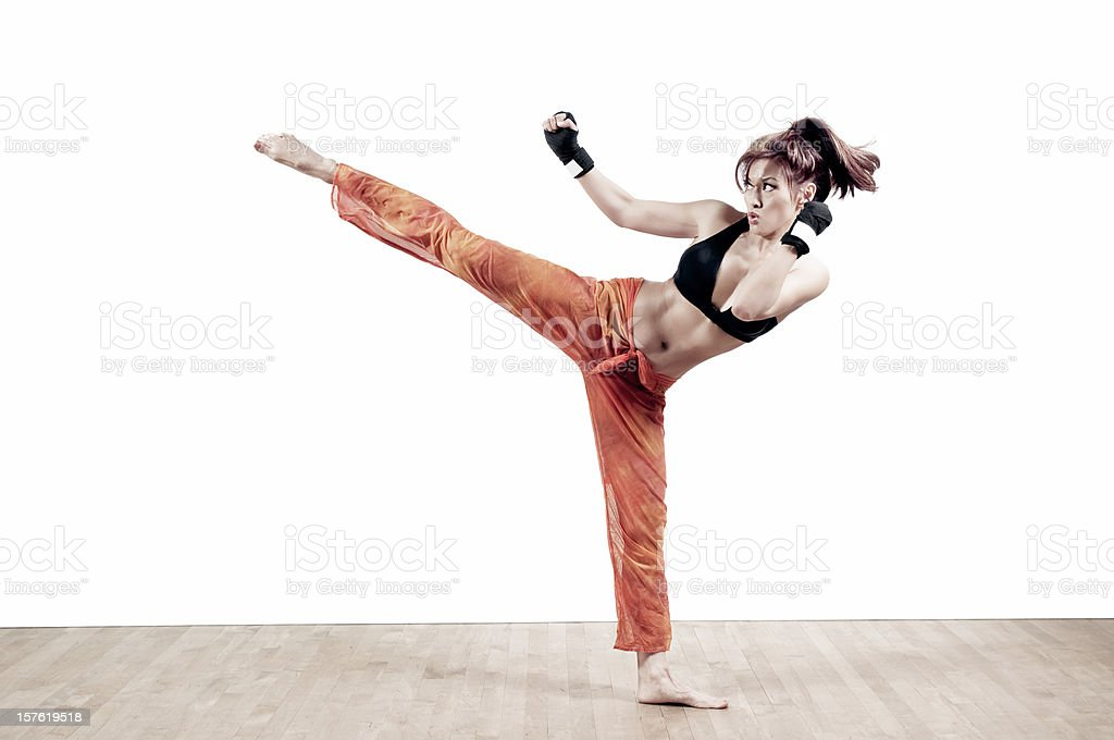 Female kickboxer stock photo