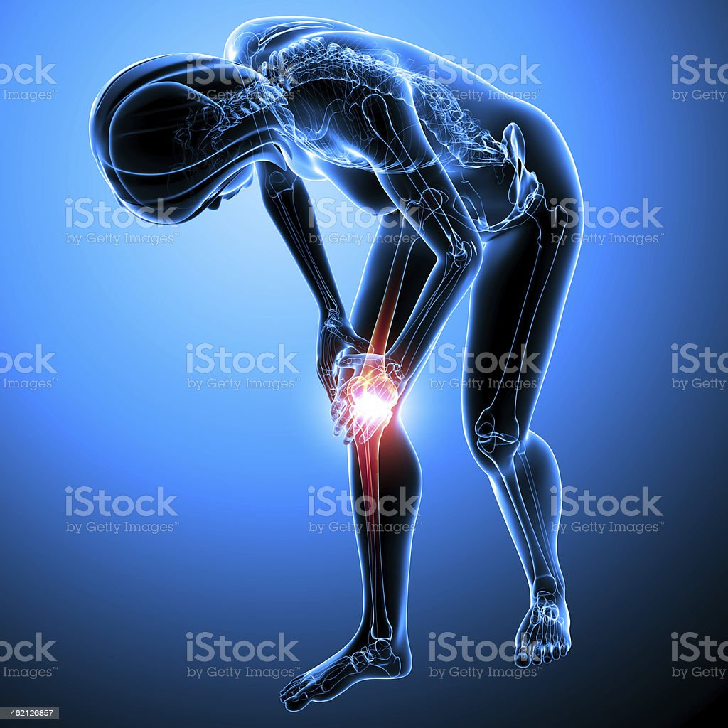 female knee pain stock photo