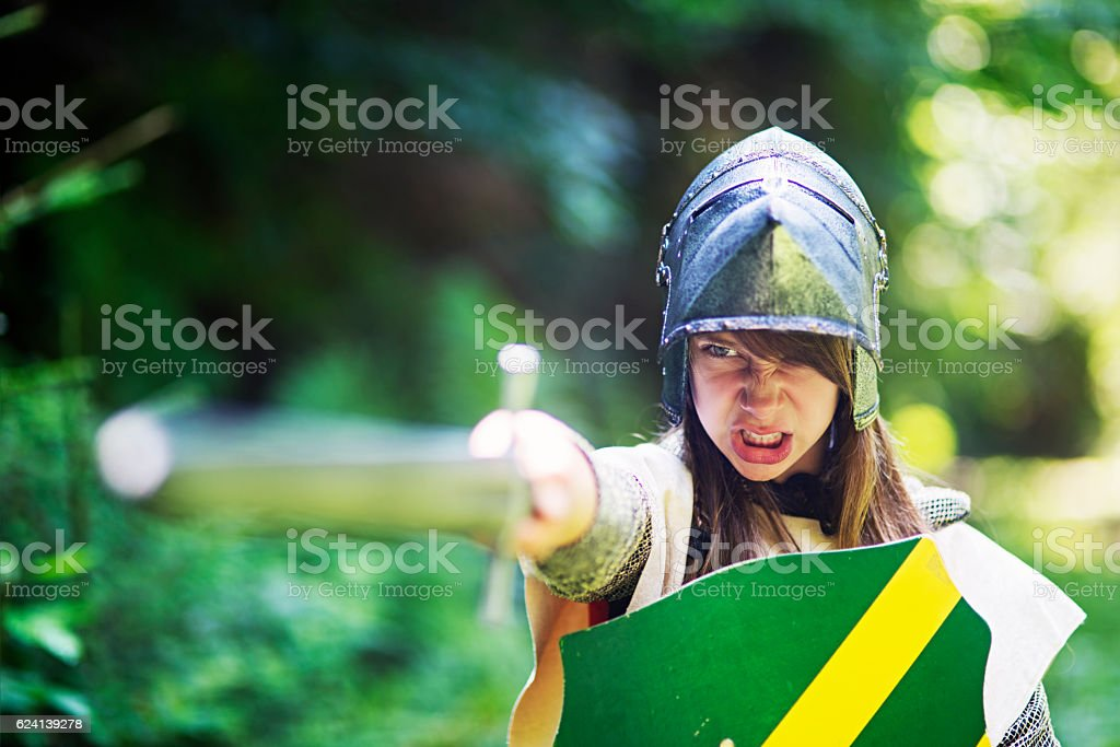 Female knight ordering her unit to charge stock photo