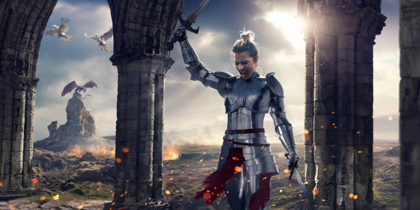 female knight screaming after battle holding swords near stone pillars - warrior person stock pictures, royalty-free photos & images