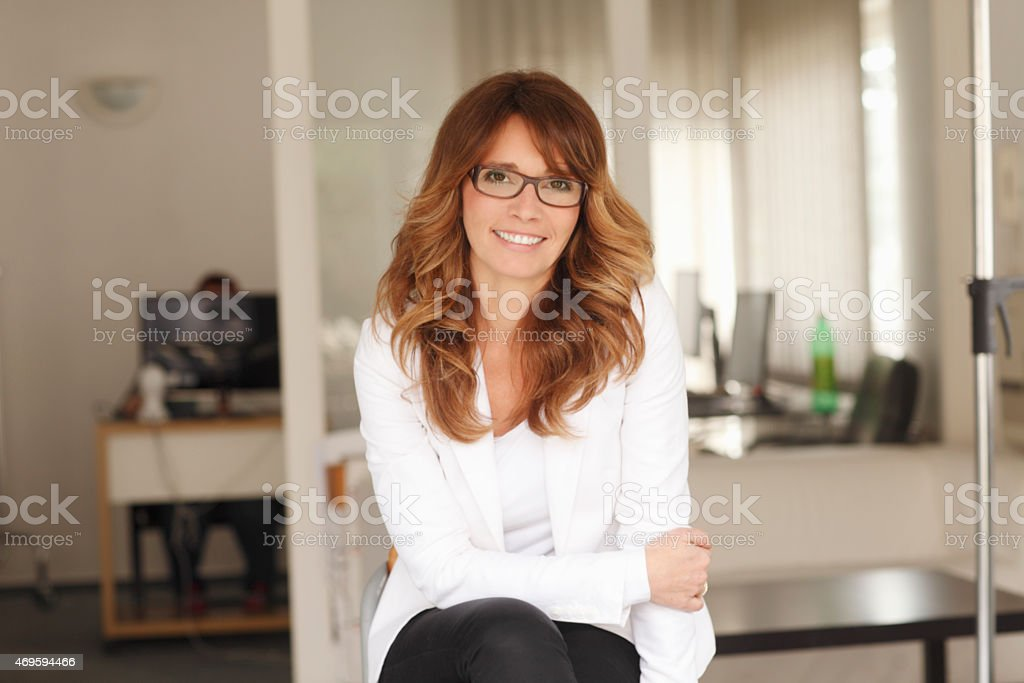 Female lawyer at office stock photo
