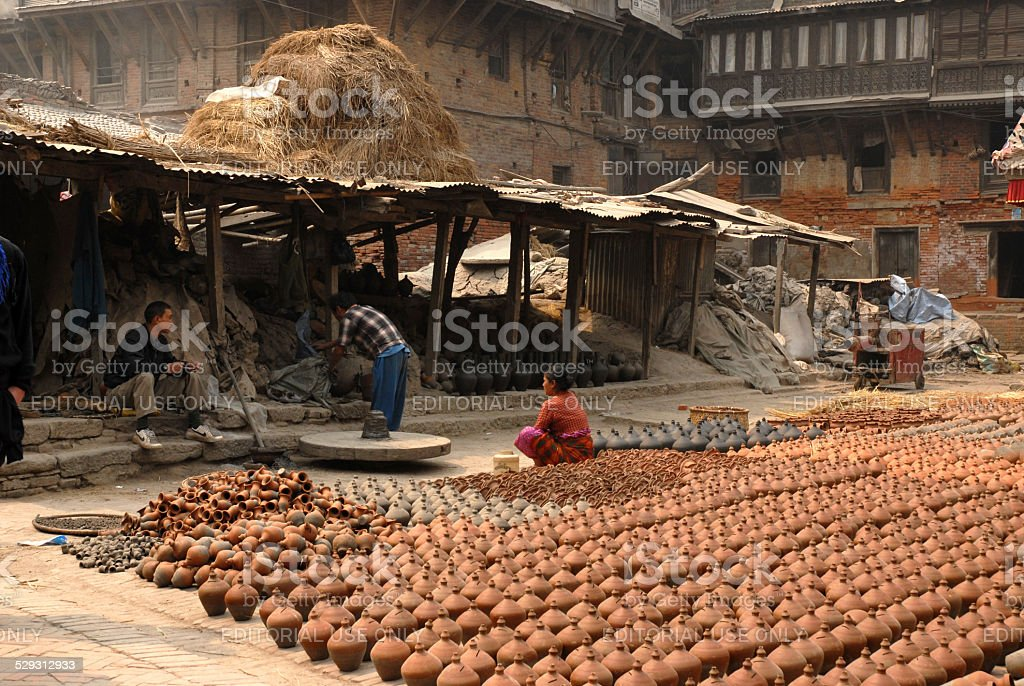 Female lead pottery.Sort out outdoor To be heated by sun. stock photo