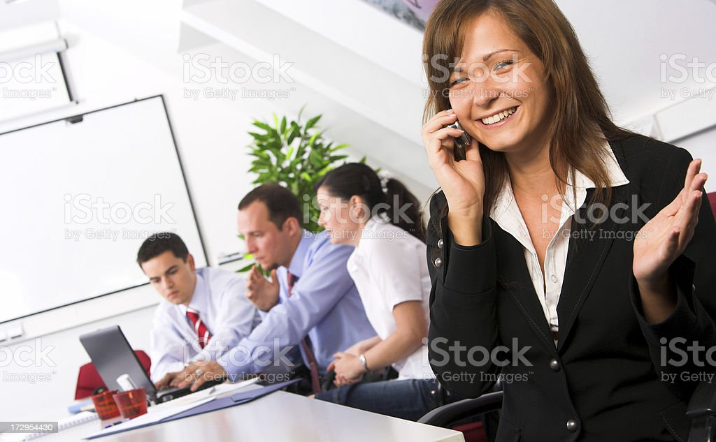 Female leader and her successful team stock photo