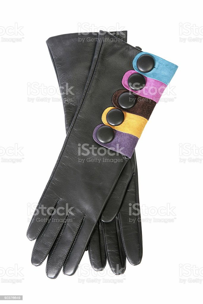 Female leather gloves on a white background royalty-free stock photo
