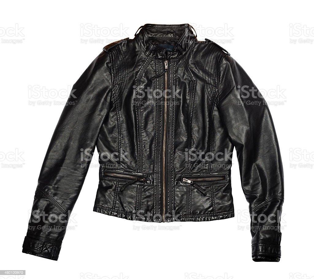 Female leather jacket isolated on white stock photo