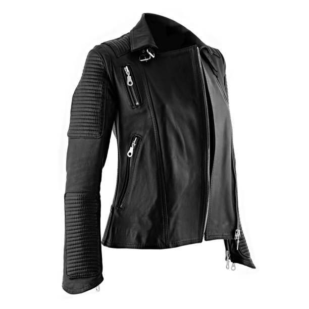 Female leather jacket Female leather jacket on isolated white background leather jacket stock pictures, royalty-free photos & images