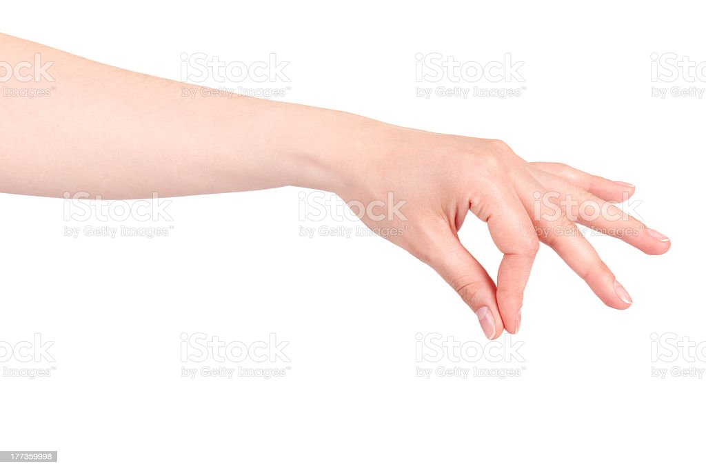 Female left hand performing a placing or pinching sign stock photo