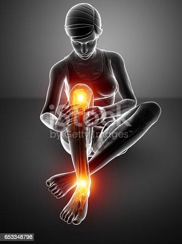 istock Female Leg joint pain 653348798