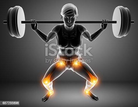 istock Female Leg joint pain 657255898
