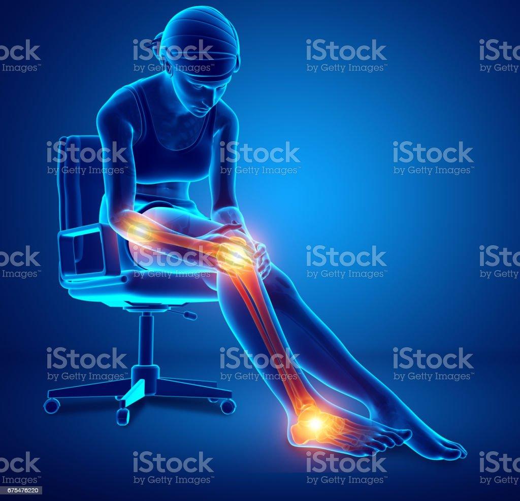 Douleurs articulaires jambe femme photo libre de droits