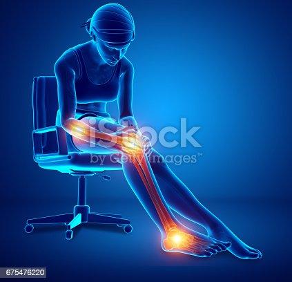 istock Female Leg joint pain 675476220
