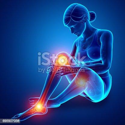 istock Female Leg joint pain 695907038
